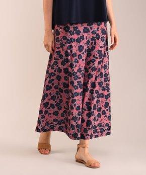 9481bafad5 Lbisse | Navy & Rose Floral Maxi Skirt - Women & Plus