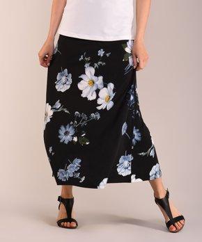 a37613d7b6 Lbisse | Black & Gray Floral Maxi Skirt - Women & Plus