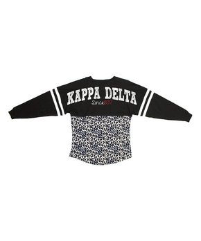 Black Leopard Delta Zeta Pom-Pom Jersey Tee - Women & Juniors