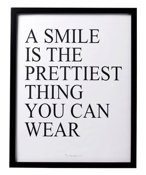 Black 'A Smile is the Prettiest' Wall Art