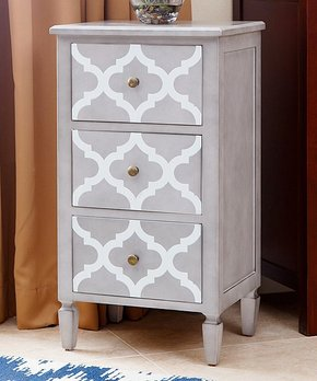 Abbyson Living | Gray & White Damien Three-Drawer Storage Table