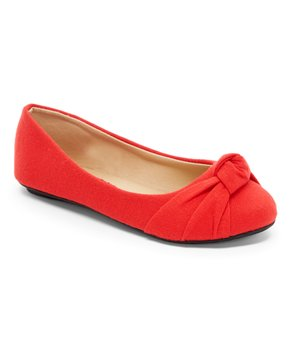 Ositos Shoes | Red Knot-Detail Ballet Flat - Girls