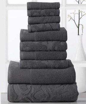 Affinity Linens | Gray Brocade 10-Piece Cotton Towel Set