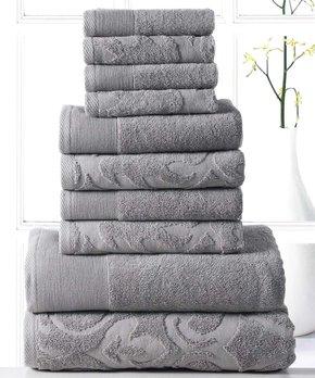 Affinity Linens | Platinum Brocade 10-Piece Cotton Towel Set