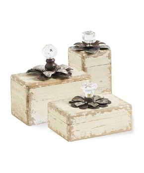K&K Interiors | Crystal Knob-Accent Wood Boxe - Set of Three