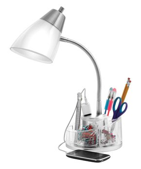 Catalina Lighting | White Tensor Organizer Desk Lamp & Power Outlet
