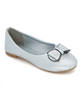Ositos Shoes | Silver Bow-Detail Strap Ballet Flat - Girls