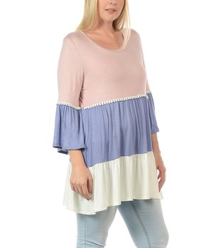 MOA Collection | Dust & Pink Floral Stripe Three Quarter-Sleeve Top - Plus