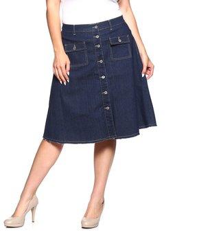 Be Girl Clothing | Dark Indigo Button-Up A-Line Jean Skirt - Women & Plus