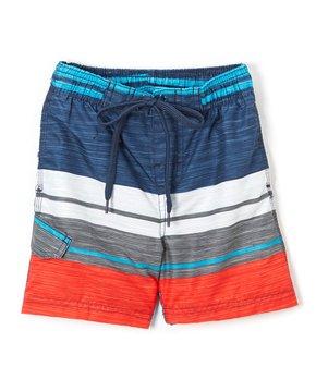 711bbe51df Kanu Surf | Navy & Red Impact Stripe Swim Trunks - Toddler & Boys