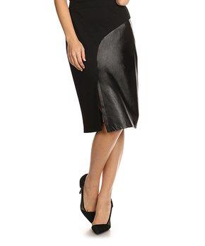 7b371229d8 ... Faux Leather Pencil Skirt - Plus. all gone. Nema Avenue | White  Front-Slit Skirt. all gone