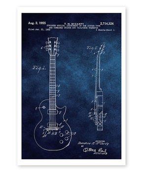Oliver Gal | Gibson Les Paul Guitar 1955 Blueprint Print
