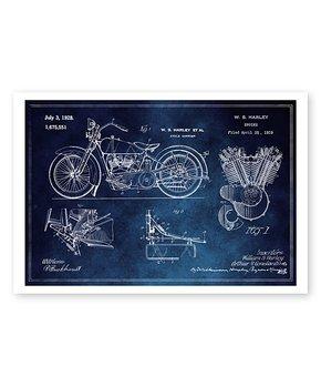 Oliver Gal | Harley Engine 1923 Blueprint Print