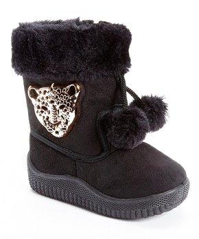 39c1e8045f40 Shoe Box Trading   Black & Gold Leopard Pom-Pom Bootie - Girls