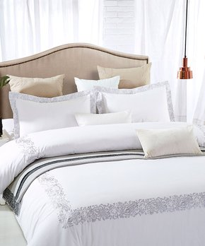 cc77201925 Home City | White & Gray Moonlawn Embroidered Cotton Duvet Cover Set