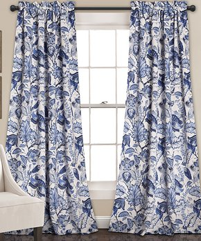 Lush Décor | Blue & White Floral Room-Darkening Curtain - Set of Two