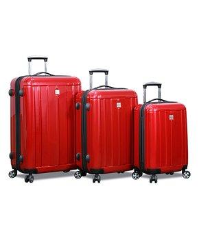 7198f80bd World Traveler   Red Dejuno Contour Spinner Three-Piece Luggage Set
