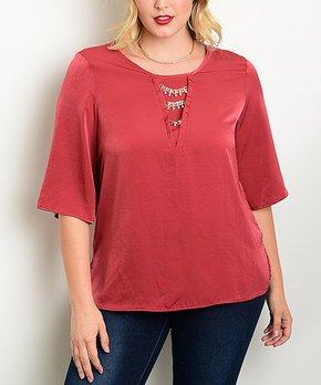 VELZERA | Pink Bell-Sleeve Off-Shoulder Tunic - Women & Plus