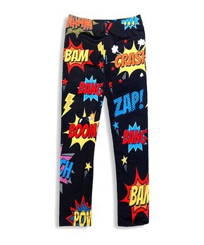41d3b7c9481ed ... Tan Leopard Floral Leggings - Toddler. Black 'Zap!' Comic Book Leggings  - Girls