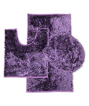 Daniel's Bath & Beyond | Purple Chenille Three-Piece Bath Rug Set