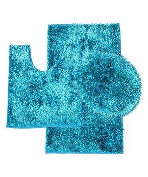 Chesapeake Merchandising | Aqua Bursting Flower Bath Rug Set
