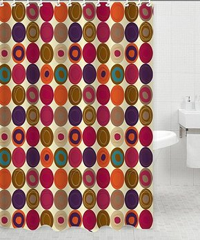 Daniel's Bath & Beyond | Beige & Pink Dot Shower Curtain