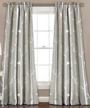Lush Décor | Gray Bird on the Tree Room-Darkening Curtain Panel - Set of Two