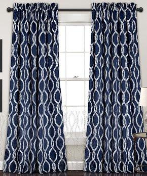 Lush Décor | Blue Julia Stripe Blackout Curtain Panel - Set of Two