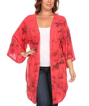Poliana Plus | Red Rose Print Kimono - Plus