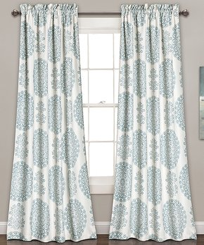 Lush Décor | Blue Evelyn Medallion Room-Darkening Curtain Panel - Set of Two