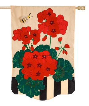 Evergreen | Geraniums Outdoor Flag