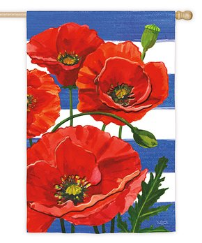 Evergreen | Poppies & Stripes Outdoor Flag