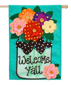 Evergreen | 'Welcome Y'all' Polka Dot Flowers Outdoor Flag!