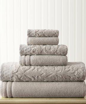 Amrapur Overseas | Blue & Ivory Fleur Swirl-Embroidery Six-Piece Towel Set