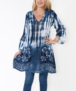Shoreline | Blue Tie-Dye Embroidery Crochet-Insert V-Neck Tunic – Women & Plus