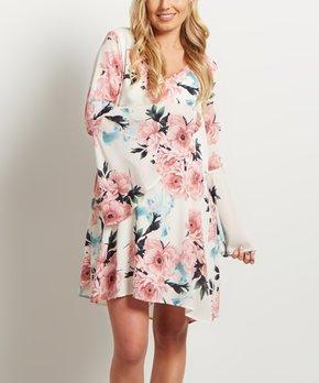 afd4dc824ef PinkBlush Ivory Floral Belted Maternity Off-Shoulder Dress · all gone