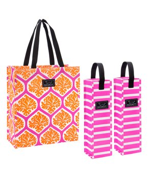 SCOUT Bags | Lattice Quo Persimmon & Hot Pink Wine Tote Set