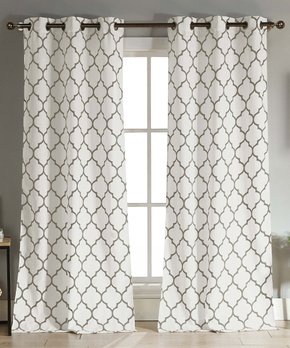 Lush Décor | Gray Geometric Room Darkening Curtain Panel - Set of Two