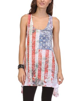 9766ea99647 all gone. White American Flag Burnout Tunic ...