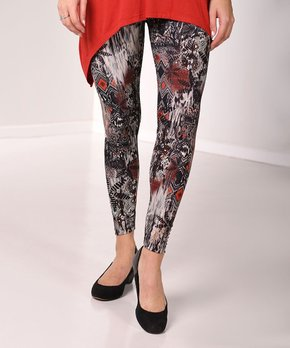 ffe918825b7855 Black & Navy Abstract Print Leggings - Plus. all gone