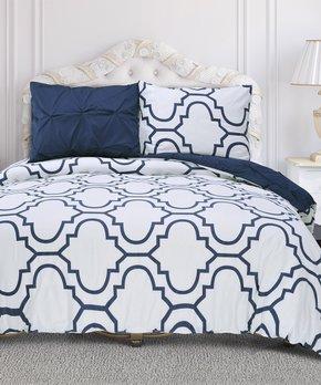 8b0eb85610 Home City | Blue & White Valencia Reversible Duvet Cover Set