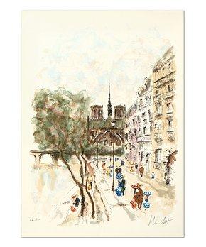 Qart.com | Urbain Huchet Autographed Isle de Cite Lithograph Print