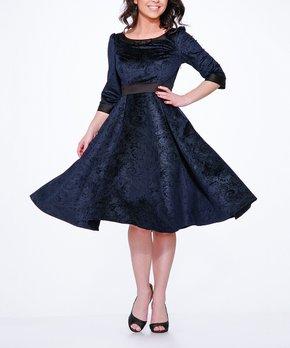 534b18f3c20 HEARTS & ROSES LONDON | Navy Scroll Three-Quarter Sleeve A-Line Dress…