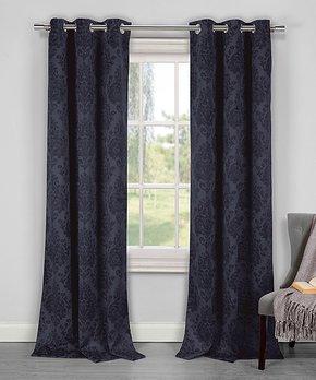 Lush Décor | Gray Octagon Block Room-Darkening Curtain Panel - Set of Two