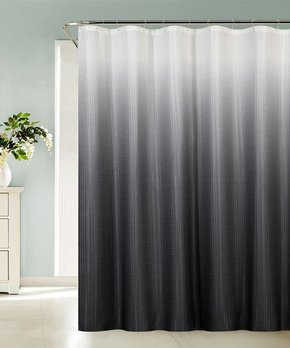 Gray Ombré Sea Black Shower Curtain