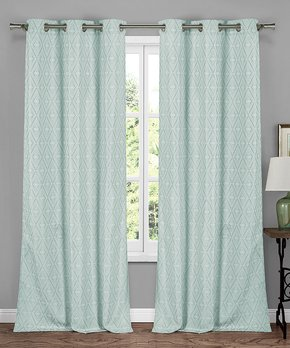 Lush Décor | Navy Check Kelly Room Darkening Curtain Panel - Set of Two