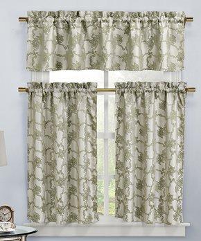 Lush Décor | Gray Ivy Tassel Room-Darkening Curtain Panel - Set of Two