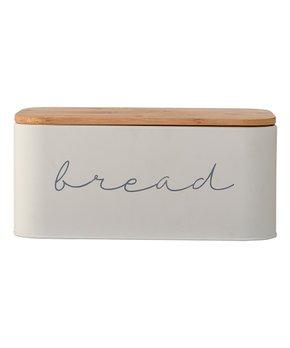 Gray Metal Bread Bin & Bamboo Lid