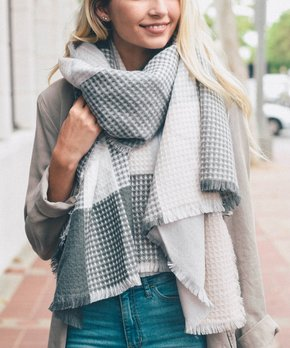 27f45536581b0 Leto Collection | Gray & Blush Plaid Waffle-Knit Blanket Scarf - Women