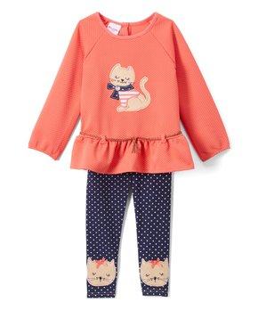 3bd9736e17c399 Nannette Kids | Coral Cat Peplum Tunic & Leggings - Infant, Toddler &…